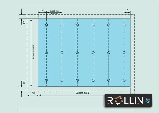 Схема раскройки римских штор